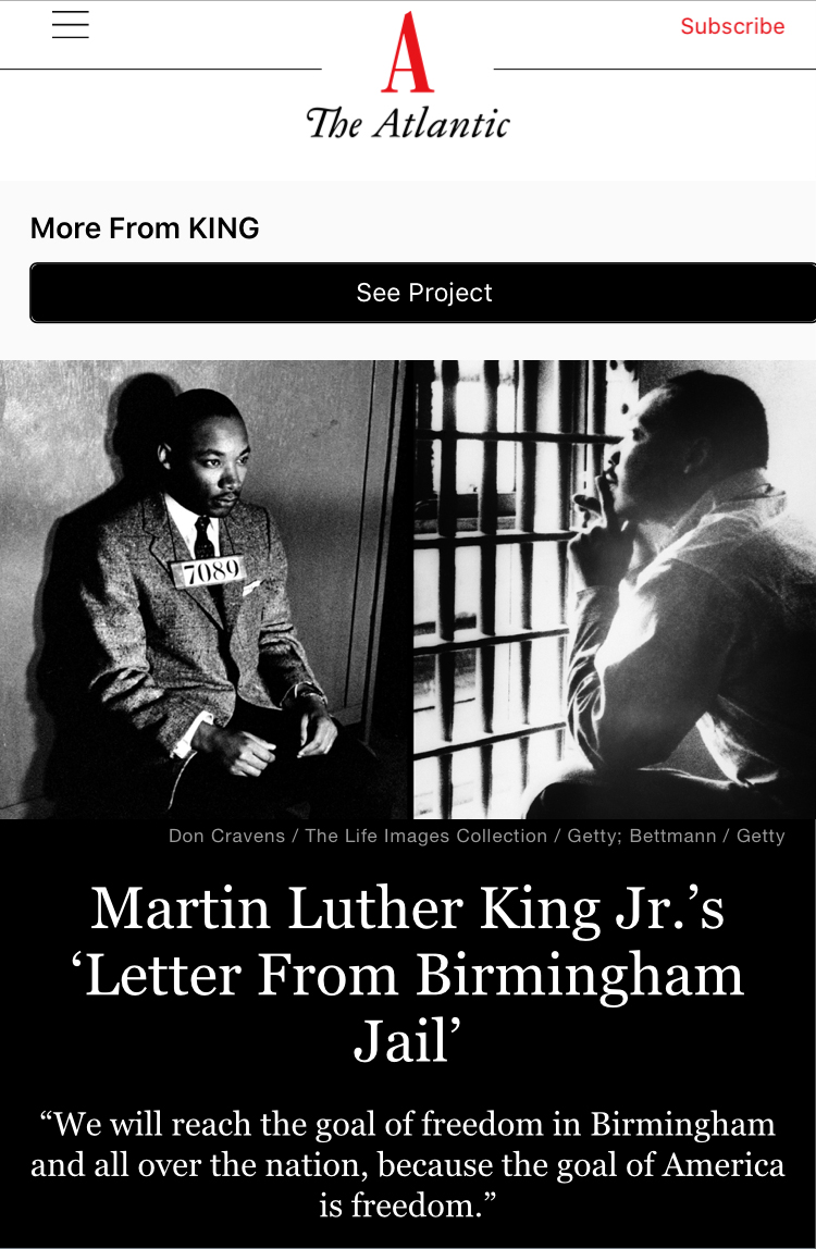 MLK Jr - The Atlantic '63
